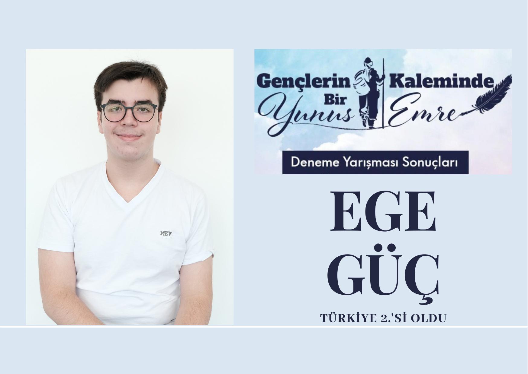 Fen Lisesi öğrencimiz Ege Güç Türkiye 2.'si oldu